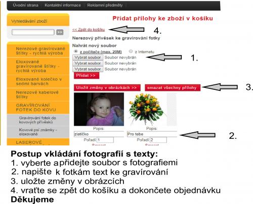 Postup vkládání fotek s textem