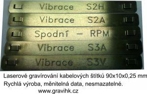 Nerezové kabelové  identifikačí  štítky s gravírovaným měnitelným textem.