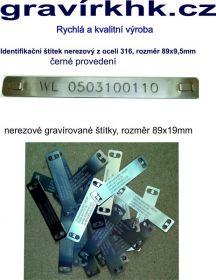 Nerezové kabelové  identifikačí  štítky s gravírováním rozměr 89x19mm, rychlá a kvalitní výroba