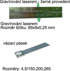 Nerezové kabelové štítky, nerezové vázací pásky identifikačí