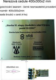 Nerezová cedule povinné publicity, rozměr 400x300x2mm