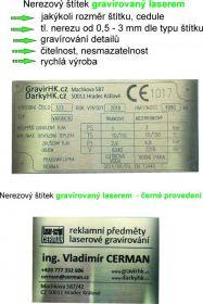 Laserové gravírování do nerezových štítků, cedulí, technických štítků, výrobních štítků.