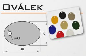 """Psí známka z eloxovaného hliníku - """"ovál"""" v různých barvách"""