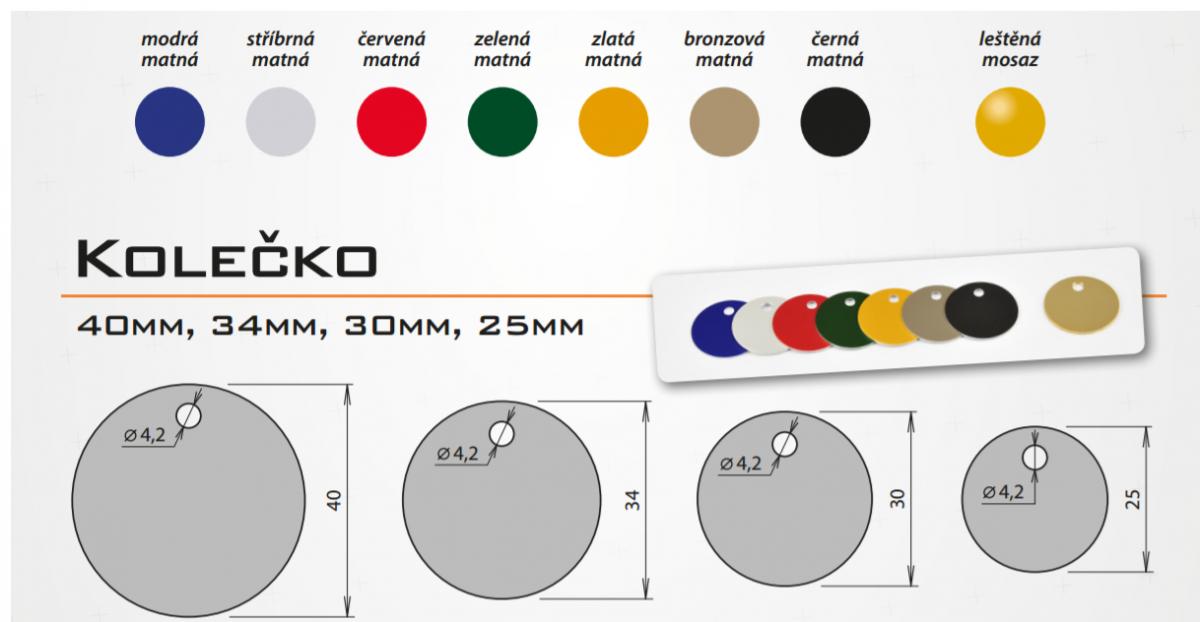 Eloxovaný kulatý štítek vhodný ke gravírování, rychlá výroba, kvalitní provední