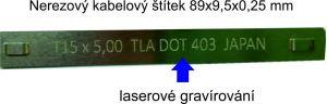 Nerezový kabelový štítek  s gravírovaným textem