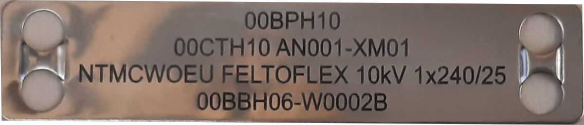 Nerezový kabelový štítek s gravírováním