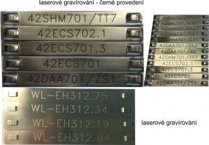 899g Nerezový kabelový štítek 89x9x0,25 mm včetně gravírování
