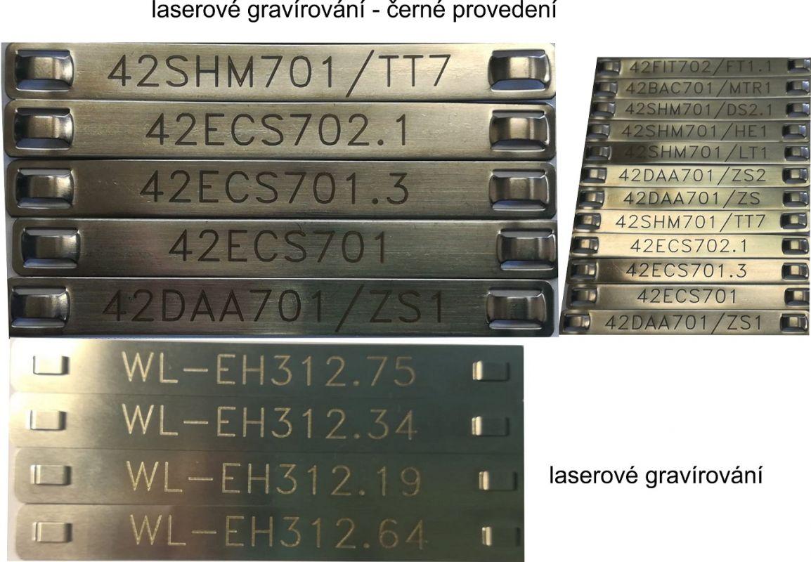 Nerezový kabelový štítek s gravírováním nebo s gravírováním + černé provedení.