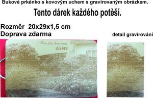 Laserové gravírování fotky, obrázku do bukového prkénka
