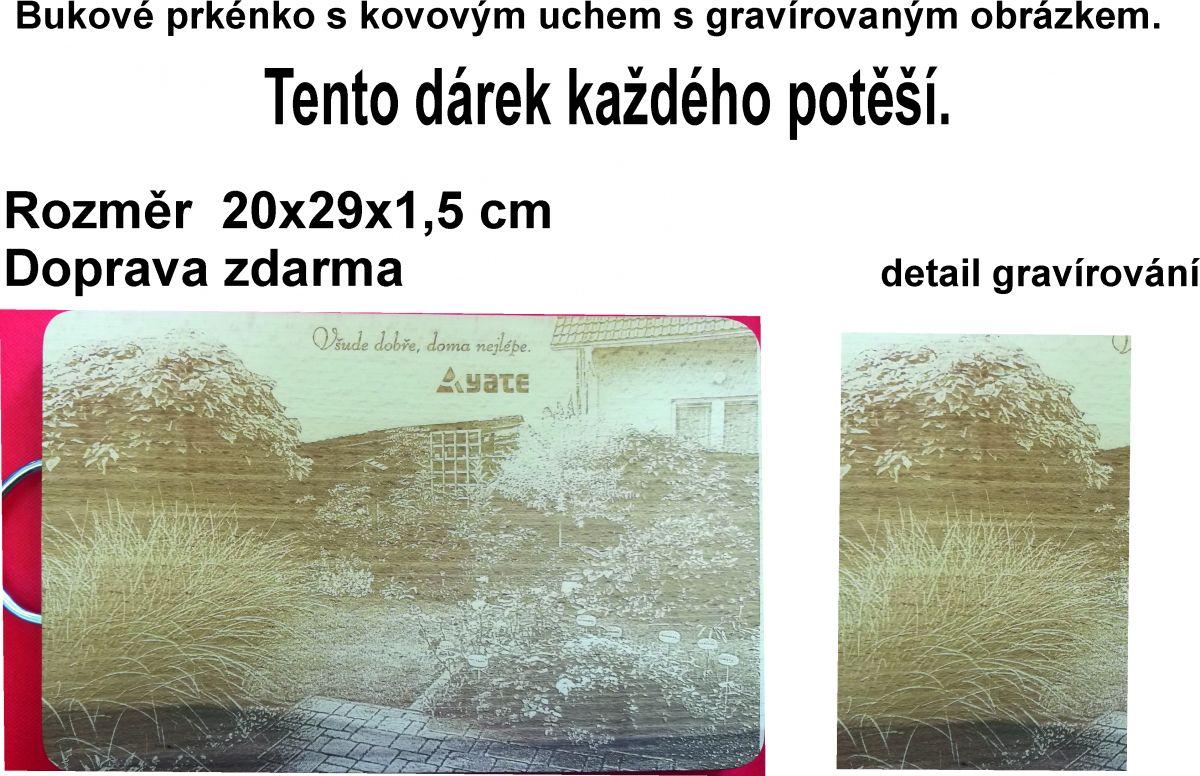 Gravírování fotky do dřevěného prkénka o velikosti 200x290x15mm
