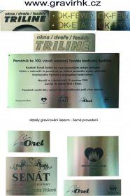 Lasesrové gravírování do nerezu, pamětní cedule, výrobní štítky, technické štítky