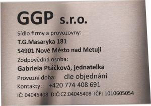 22 A4 - Nerezová cedule 297x210x1,5 mm, povrch jemný brus s gravírováním, černé provedení