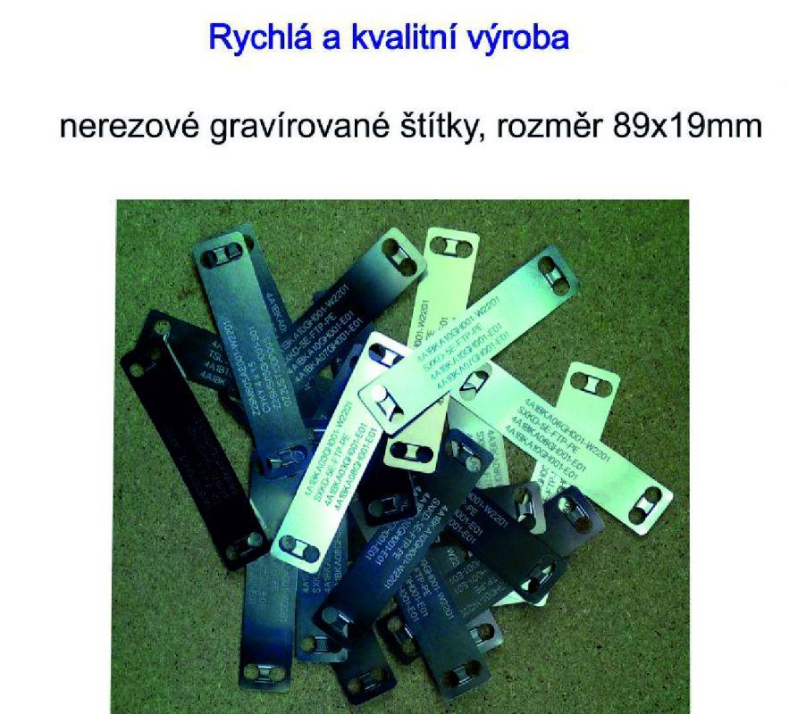 Nerezový kabelový štítek 89x19 mm včetně gravírování