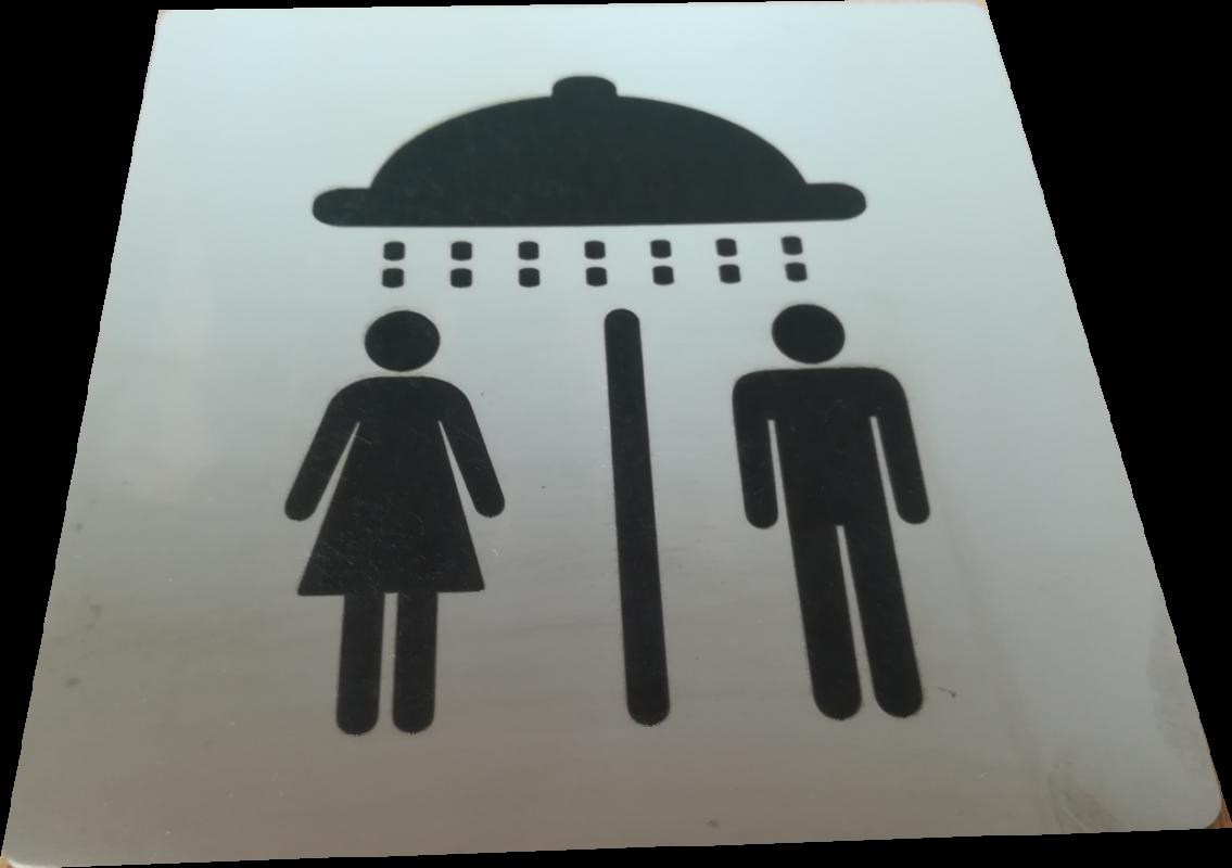 Nerezový piktogram  sprcha - povrch lesk, laserové gravírování - černé provedení