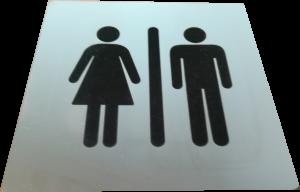 Nerezový piktogram - toaleta, laserové gravírování - černé provedení